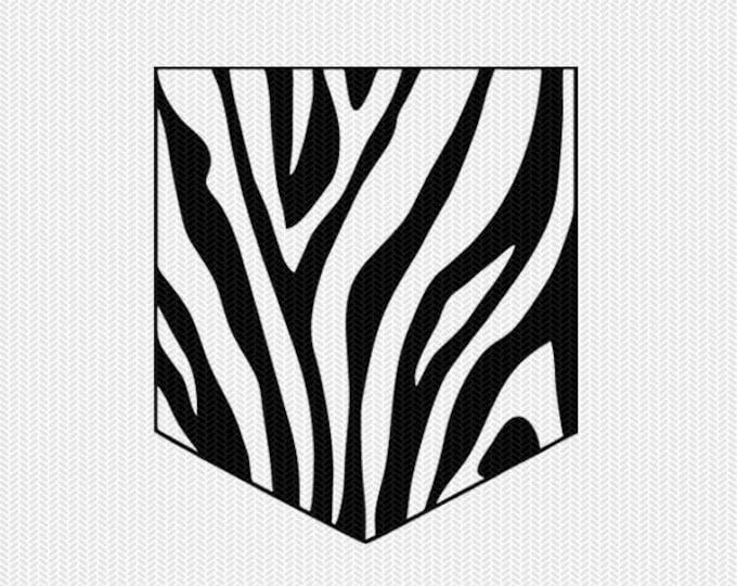 zebra print pocket svg dxf file instant download silhouette cameo cricut downloads clip art commercial use