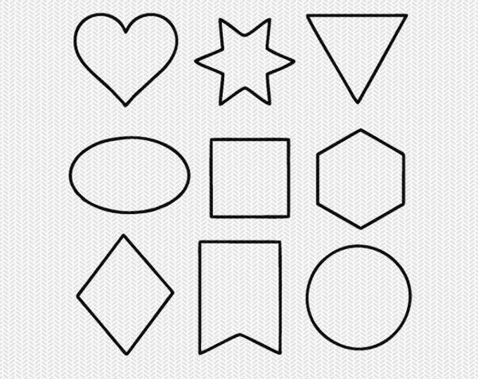 shapes outline svg dxf cut file instant download stencil silhouette cameo cricut downloads clip art commercial use