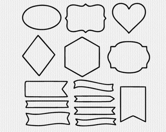 shapes outline svg dxf cut file instant download stencil silhouette cameo cricut downloads clip art commercial use