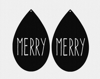 merry earring template earring svg gift tags cricut download svg dxf file stencil silhouette cameo cricut clip art commercial use