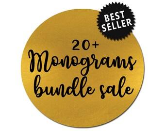 sale // monogram bundle // svg dxf file instant download silhouette cameo cricut downloads clip art commercial use monogram svg files