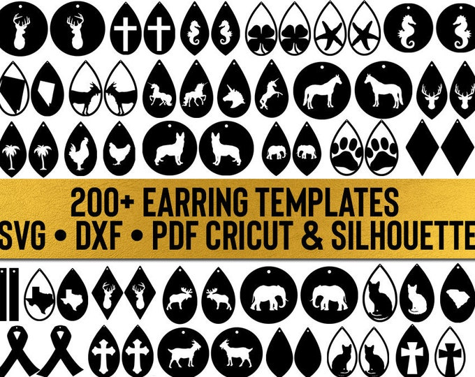 earring templates bundle // all files in my shop // svg dxf file instant download silhouette cameo cricut downloads clip art commercial use