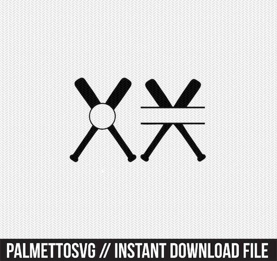 Baseball Bats Monogram Frames Svg Dxf File Instant Download Etsy