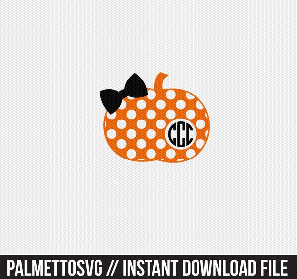 Pumpkin Polka Dot Pattern Monogram Frame Svg Dxf File Instant Download Stencil Silhouette Cameo Cricut Clip Art Commercial Use