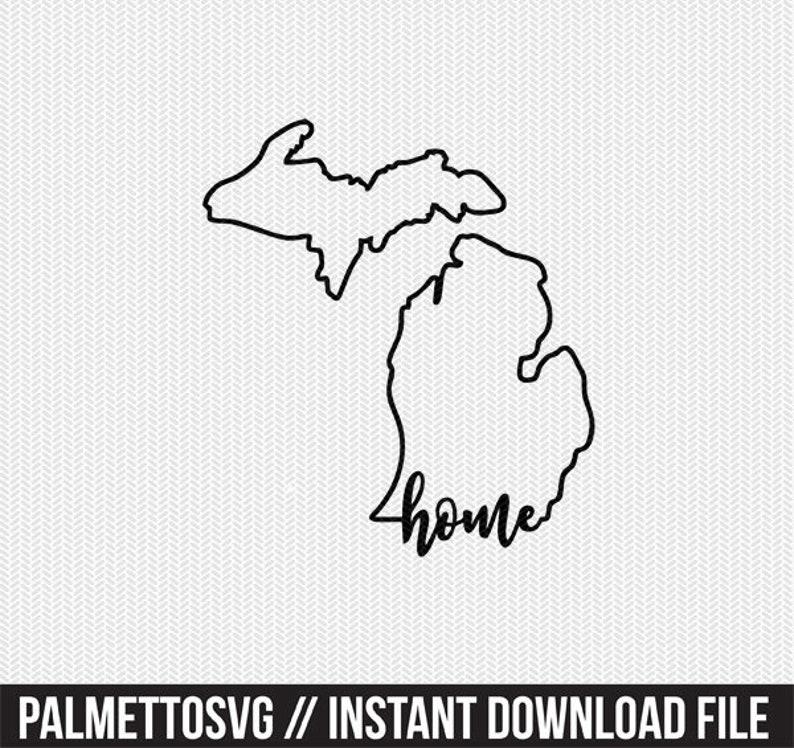 michigan home svg dxf file instant download stencil silhouette cameo cricut downloads cut file downloads clip art commercial use