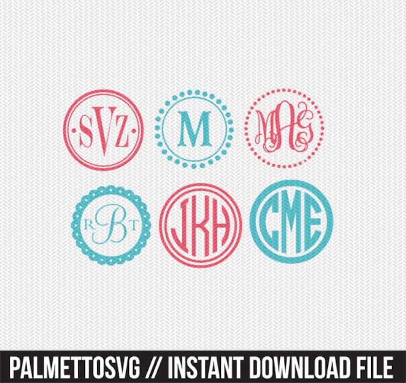 circle monogram frame svg dxf file instant download silhouette image 0