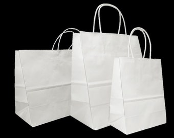73e1898667d Mixed Medium Sizes White Paper Retail Gift Rope Handle Tote Shopping Bags