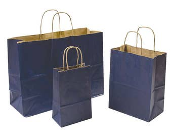 443ae8176d9 Mixed Pack 3 Sizes Navy Blue Paper Retail Gift Rope Handle Tote Shopping  Bags