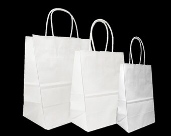 552e9d337dd Mixed Small Sizes White Paper Retail Gift Rope Handle Tote Shopping Bags