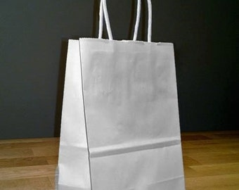 ab5b5242bf 5x4x8 (approximate) Small Kraft White Paper Shopping Gift Bags with Rope  Handles