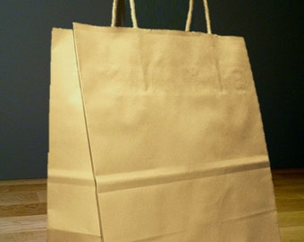10x5x13 Kraft Brown Paper Debbie Shopping Gift Bags with Rope Handles