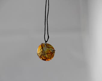 Glass Pendant Copper Wire Necklace - Orange