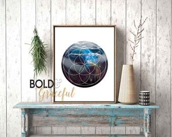 Mountains and Cosmic Print / Abstract Art  / Mountain Wall Art / Wanderlust Print / Cosmic Print / Geometric Print / Spirograph Art Print /