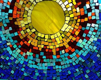 Stained glass mosaic sunshine glass on glass decoupage vintage window yellow red blue gift