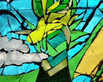 Dragon fantasy stained glass mosaic glass on glass green blue white wedding anniversary birthday