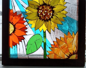 Gallery of Custom Projects Commissions Stained glass mosaic lilacs landscape Lotus apple tree peacocks sunflower daisy hydrangeas gift