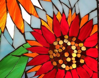 Stained glass mosaic Wildflower Reflection mirror vintage window sash sunflower chicory coneflower blue orange red