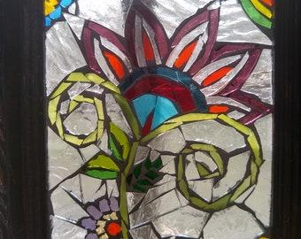 Stained glass mosaic glass on glass paisley rainbow Christmas anniversary housewarming birthday gift