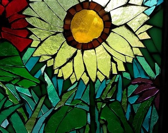 stained glass mosaic wildflowers sunflowers poppies coneflowers vintage window sash glass on glass red yellow green landscape