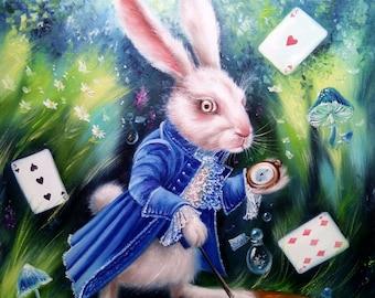 White Rabbit draws! Oil Painting Rabbit