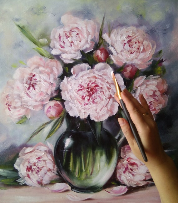 Luce peonie in un vaso di vetro dipinto ad olio fiori   Etsy