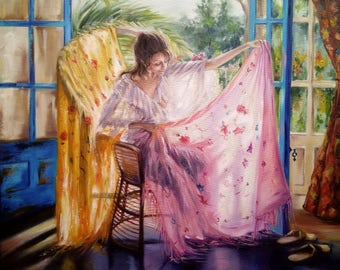 Woman with handkerchief Oil Painting Girl