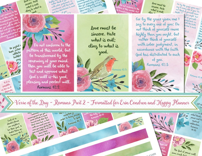 SALE! Verse of the Day Planner Stickers - ROMANS Part 2 - 25 Stickers for  Happy Planner and Erin Condren - PDF Printable - Bible Journaling