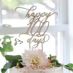 Happy 100 Days Cake Topper   100th Day Cake Topper   Modern Calligraphy Cake Decoration   Baby Milestone Wood Cake Topper   Laser Cut Wood
