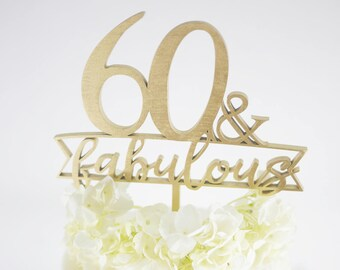 30, 40, 50, 60 or 70 & Fabulous Ribbon Cake Topper | Birthday Cake Topper | Cake Decoration | Laser Cut Wood Birthday Decor