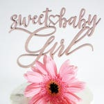 Sweet Baby Girl Heart Cake Topper | Laser Cut Wood | Baby Shower Cake Topper | Baby Shower Decor