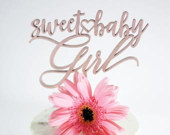 Sweet Baby Girl Heart Cake Topper | Laser Cut Wood | Baby Shower Cake Topper | Baby Shower Decor