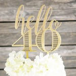 Hello 40 Cake Topper | 40th Birthday Cake Topper | Modern Calligraphy Cake Decoration | Laser Cut Wood Birthday Decor