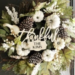 Thankful Door Sign | Fall Decor | Thanksgiving Decor | Personalized Family Name | Laser Cut Wood  | Wreath Door Hanger  | Housewarming Gift