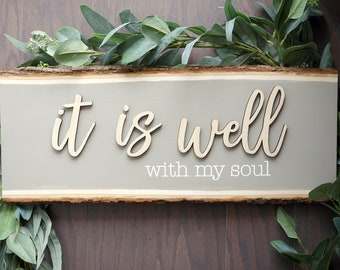 It Is Well With My Soul Wood Sign   Scripture Wood Sign   Wood Slice Sign   Wood Plaque   Rustic Home Decor  Christian Art   Bible  Art