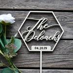 Custom Last Name Wedding Date Geometric Shape Wedding Cake Topper | Personalized Laser Cut Wood | Family Name | Unique Wedding Décor