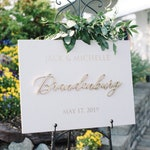 Personalized Unique First Names Last Name Wedding Date Wood Wedding Sign | Laser Cut Wood | Wedding Décor | Welcome Wedding Sign |