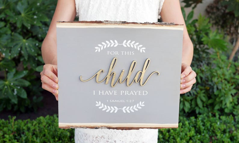 For This Child I Have Prayed Wood Sign  Laser Cut Word  image 0