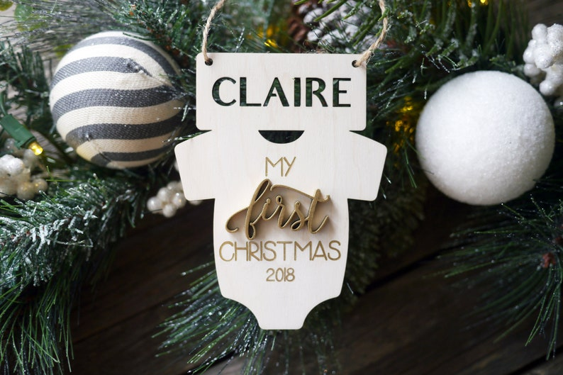 Personalized Baby's First Christmas Ornaments  Laser Cut image 0