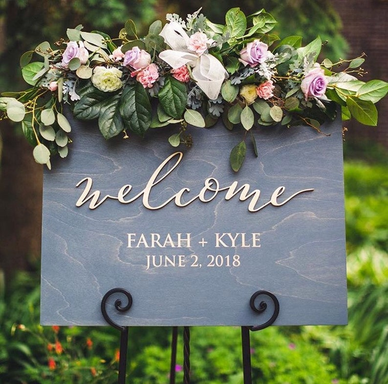 Personalized Unique Welcome Wood Wedding Sign  Laser Cut image 0
