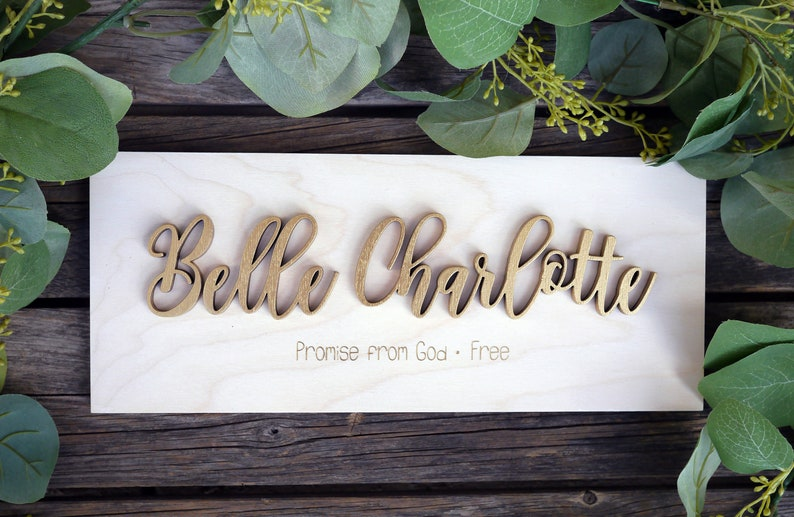 Personalized Name Meaning Wood Sign  First Middle  Laser Cut image 0