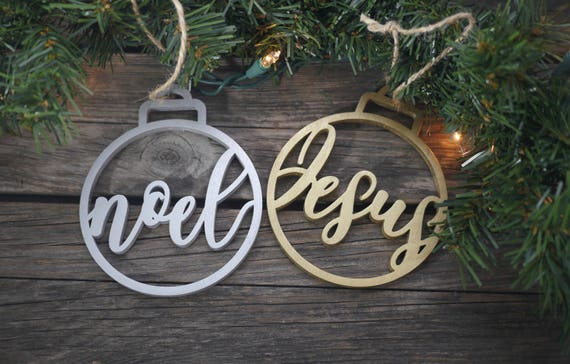 Christian Christmas Tree Ornaments | Laser Cut Ornaments | Unique Christmas Holiday Decor | Christmas Gifts | Noel Jesus Rejoice Immanuel