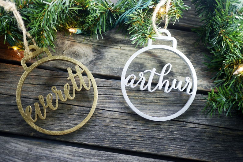 Personalized Name Christmas Tree Ornaments  Laser Cut image 0