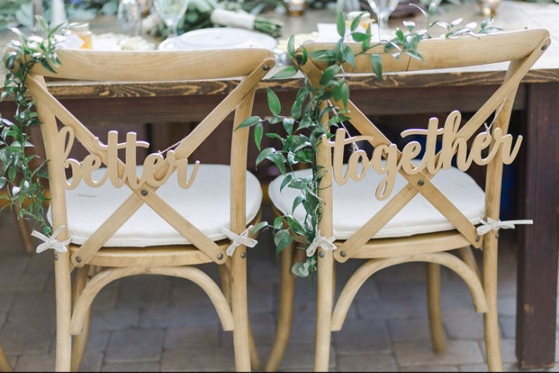Better Together Laser Cut Wood Signs  Bride and Groom Chair image 0