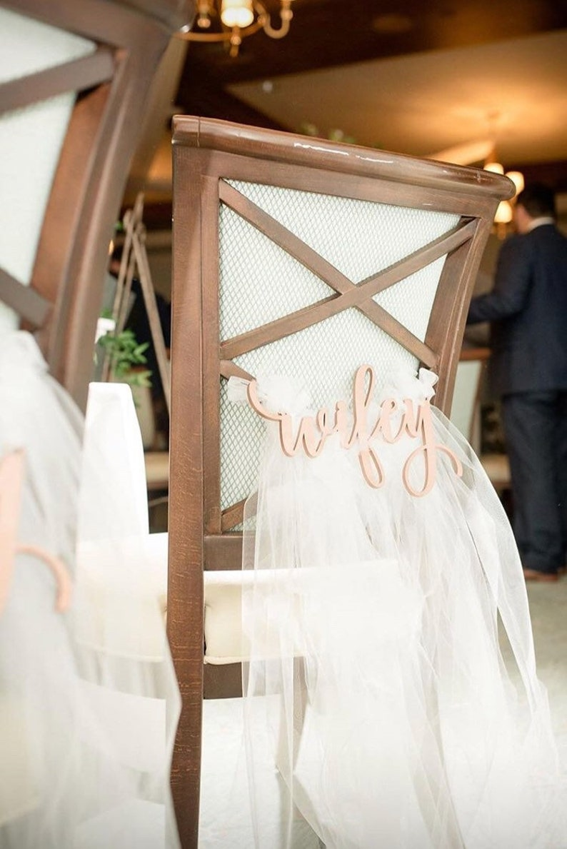 Hubby Wifey Laser Cut Wood Chair Signs  Bride and Groom  image 0