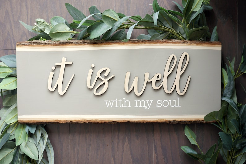 It Is Well With My Soul Wood Sign  Scripture Wood Sign  Wood image 0
