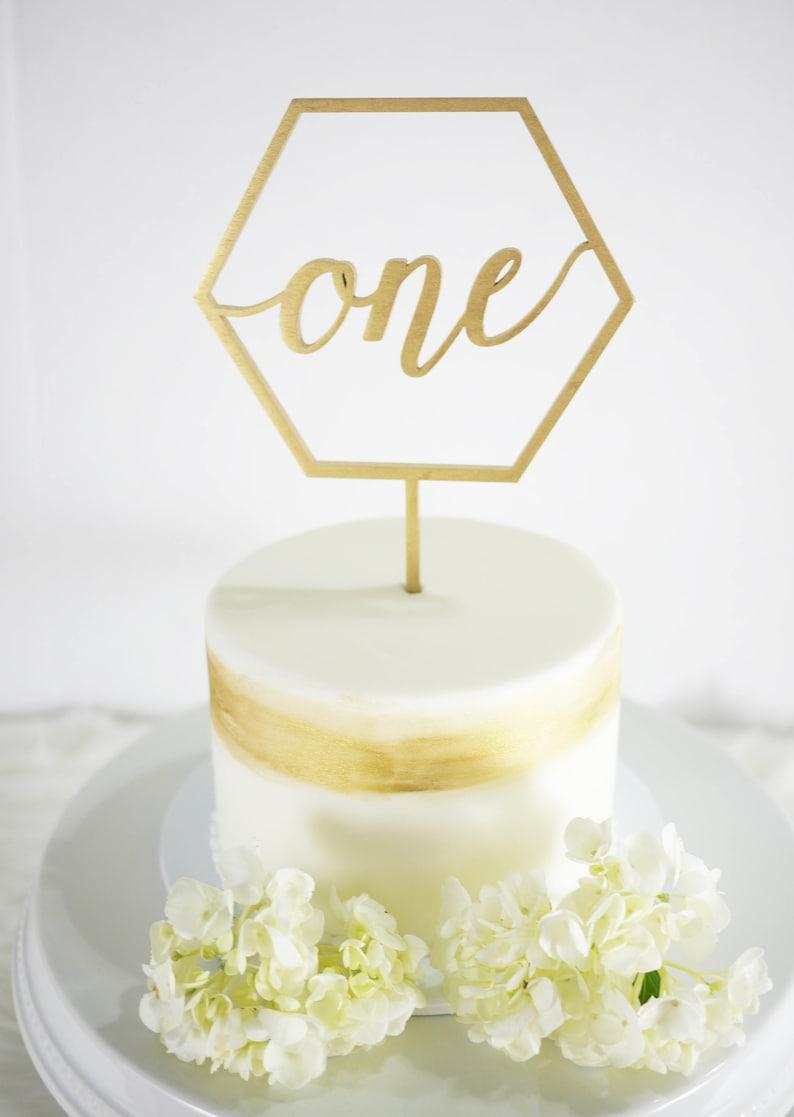 First Birthday One Geometric Shape Cake Topper  image 0