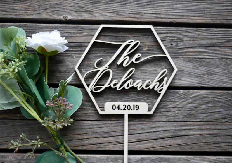 Custom Last Name Wedding Date Geometric Shape Wedding Cake image 0