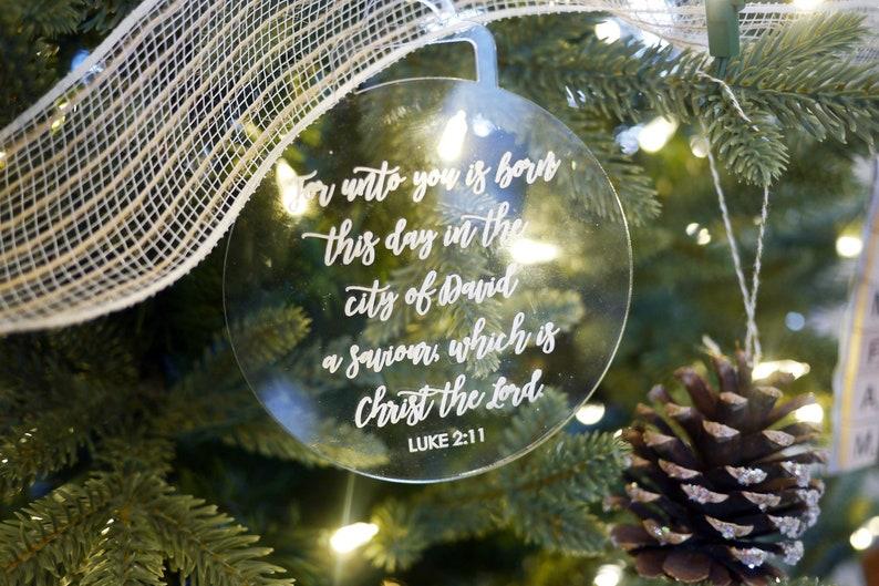Bible Verse Christmas Tree Ornaments  Christian Ornaments  image 0