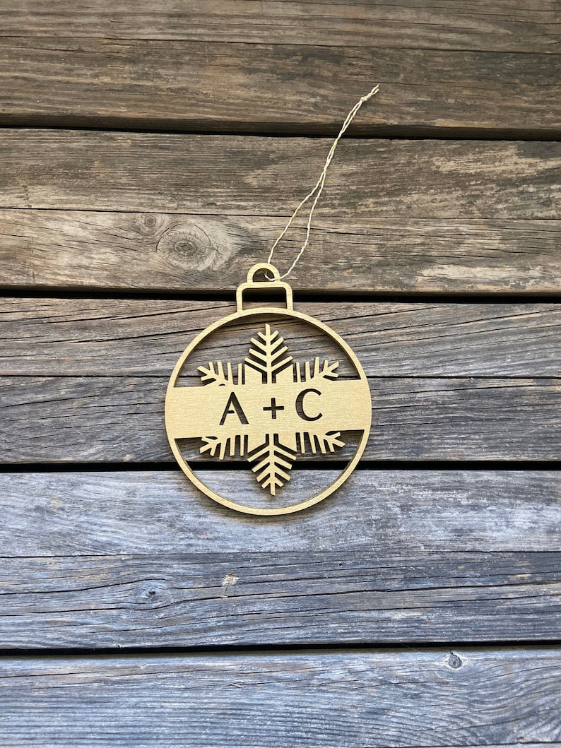Personalized Initials Christmas Tree Ornaments  Laser Cut image 0