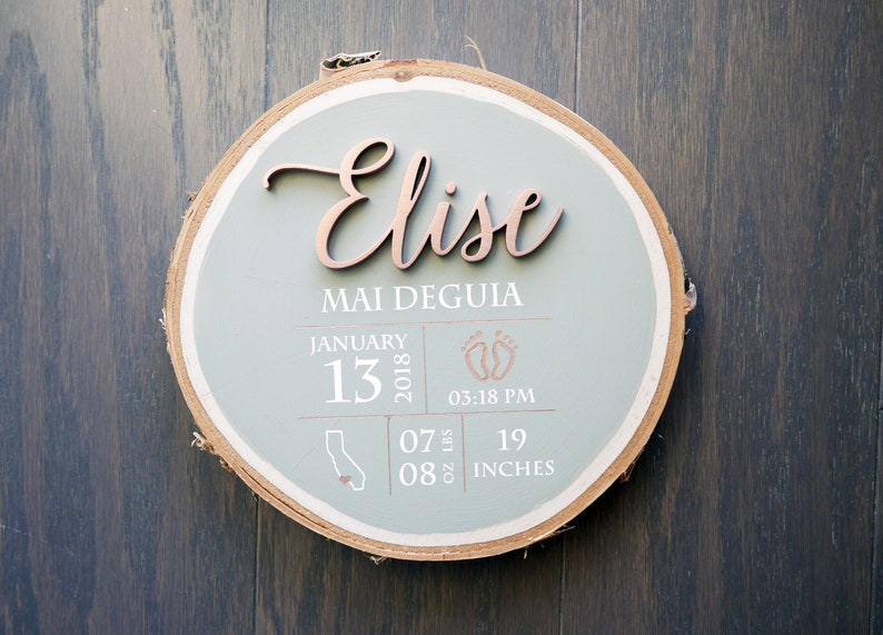 Personalized Baby Birth Stats Wood Sign  Laser Cut Name  image 0